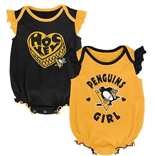 (Outerstuff NHL Newborn Infants Hockey Girl 2 Piece Creeper Bodysuit Set (0/3 Months, Pittsburgh Penguins))