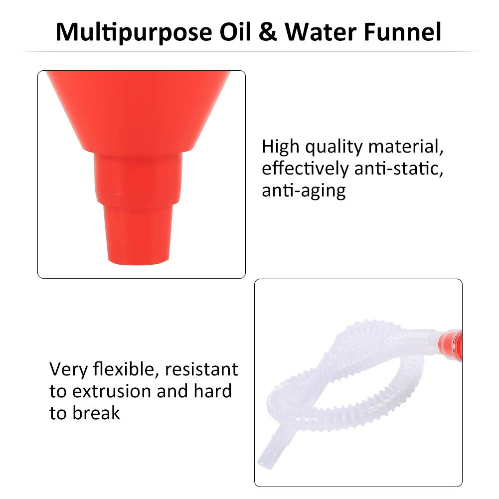 8cm Wide Mouth Fuel Funnel Universal Automotive Vehicle Plastic Filling Funnel Long Flexible Spout Extension Car Funnel for Water Gasoline Coolant Transmission Engine Oil (5pcs) by Keenso (Image #5)