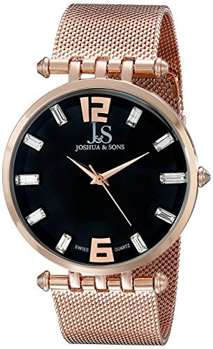 Joshua & Sons Men's JS90RG Rose Gold Swiss Quartz Watch With Black Dial and Rose Gold Mesh Bracelet