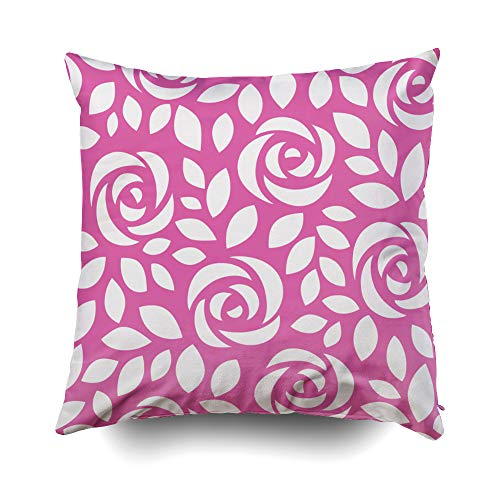 GROOTEY Decorative Cotton Square Pillow Case Covers with Zippered Closing for Home Sofa Decor Size 18X18 Inch Costom Pillowcse Throw Cover Cushion Halloween Abstract Pattern Roses Floral Wallpaper for $<!--$9.95-->