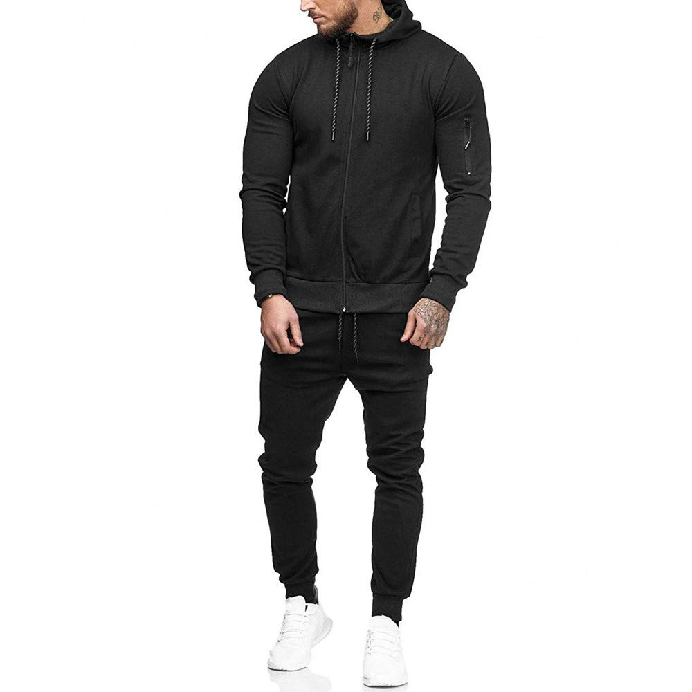 GREFER Clearance Men's Tracksuit Autumn Patchwork Zipper Sweatshirt Top Pants Sets Sports Suit with Pocket