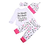 Ma&Baby Newborn Infant Baby Boy Girl Famliy Saying Romper+ Pants+Headband+Hats Outfits (6-9 Months)