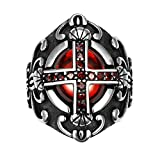 AGOKO Mens Vampire Rubine Cross Personality Retro Titanium Steel Ring