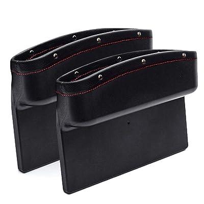 AUTOFAN PU Leather Car Pockets Organizer, Car Seat Gap Filler and Catcher Organizer (black-2pcs): Automotive