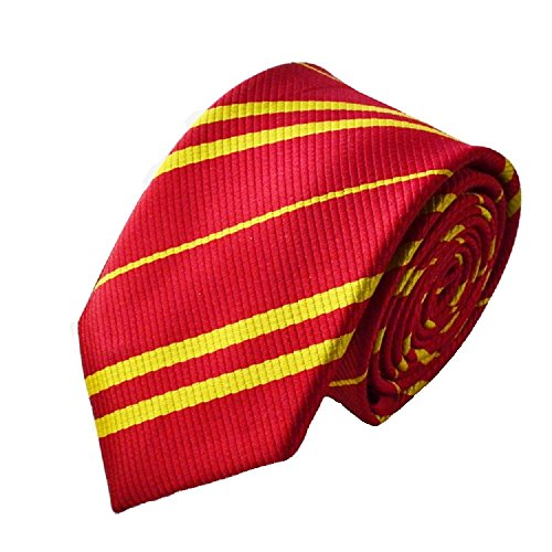Hooyi Man Necktie Harry Potter Gryffindor Tie For Adult Men Striped Ties Neckcloth Red