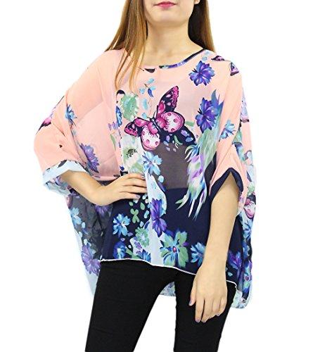 Camiseta Mujer Manga 3/4 Blusas de Verano Boho Flores Tunicas Top Playa Pareo Bikini Cover up �?Landove patrón 07