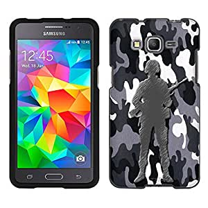 Samsung Galaxy Grand Prime Case, Snap On Cover by Trek Black and White Camouflage Soldier Case