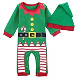 MOMBEBE COSLAND Baby Boys' Christmas Snowman Costume Romper with Hat (Christmas Elf,3-6Months)
