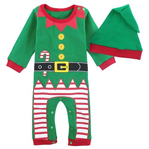 Elf Infant Costumes (Mombebe Baby Christmas Elf Costume Romper (9-12 Months, Christmas Elf))
