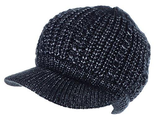 BYOS Womens Winter Metallic Cable Knit Hat & Gloves Set, Warm Fleece Lined Wool Beret Newsboy Cap W/ Visor (Metallic Mercury Cap)