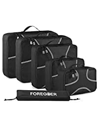 FOREGOER 6 Set Packing Cubes Travel Luggage Organizers with Laundry Bag – Black