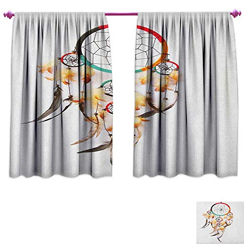 homefeel Native American Thermal Insulating Blackout Curtain Ethnic Retro Style Bohemian Dreamcatcher Image Indigenous Culture Feather Decor Curtains by W72 x L45 ()