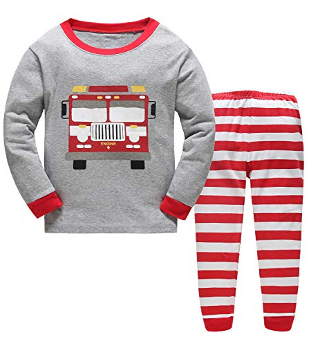 Kids Fire Truck Pajama Long Sleeve Pajamas for Boys Nightwear Set Fall Clothes Outfit -