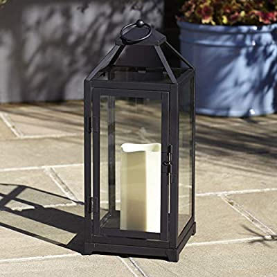 "Lights4fun, Inc. 15"" Matte Black Metal Battery Operated Flameless LED Candle Lantern for Indoor Outdoor Use"