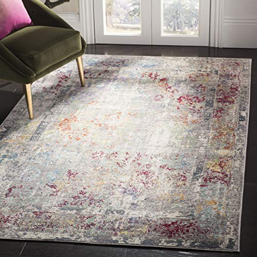 Safavieh Mystique Collection MYS923R Vintage Watercolor Grey and Multi Distressed Area Rug 5 x 8