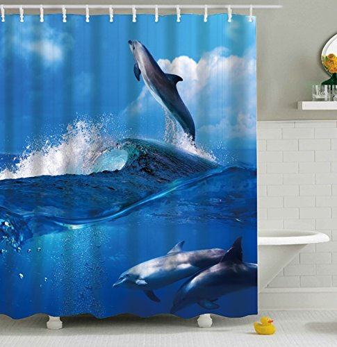 Hoomall Shower Curtain Waterproof Mould Resistance PEVA Fabric Bathroom Curtains Beach Decor Home Decor Bathroom Textile Leisure Blue Ocean Printing Bathroom Shower Curtains with Hooks 180 180cm