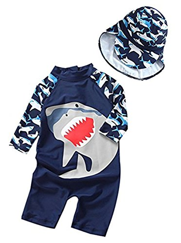 Toddler Baby Boy Summer Long Sleeve One Piece Rash Guard Swimsuit Sun Protection Size 12-18M (Navy Blue)