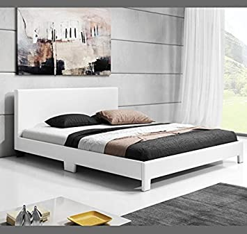 muebles bonitos cama de matrimonio luna en color blanco 180x200cm