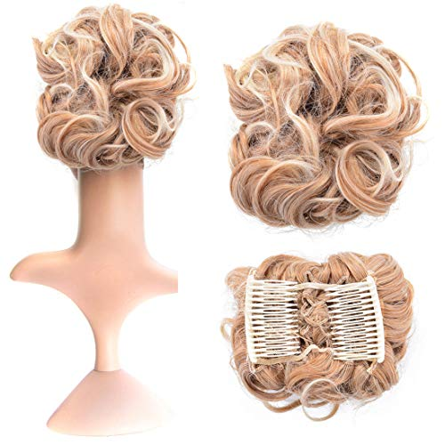 Beauty Wig World Short Messy Curly Dish Hair Bun Extension Easy Stretch hair Combs Clip in Ponytail Extension Scrunchie Chignon Tray Ponytail Hairpieces GSQ827T613#Light Brown Blonde Mix