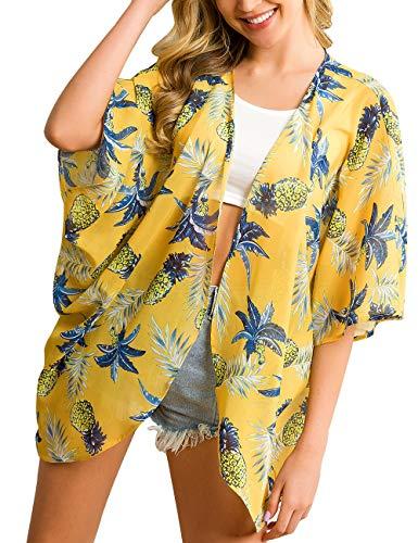 (a.Jesdani Women's Kimono Floral Print Chiffon Cardigan Capes Beach Swimwear Cover Up Yellow 10 XXL)