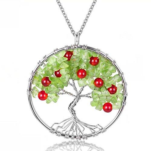 (Tree of Life Pendant Genuine Peridot and Red Agate Crystal Semi-precious Gemstone Neckalce)