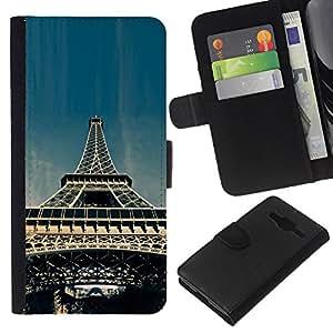 KLONGSHOP // Tirón de la caja Cartera de cuero con ranuras para tarjetas - Torre Eiffel de París - Samsung Galaxy Core Prime //