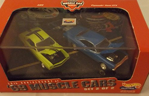 Gtx Set - Hot Wheels Collectibles AMX & Plymouth Hemi GTX set with display case