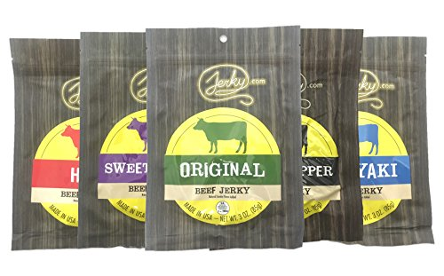 Best Beef Jerky Sampler - REGULAR SIZE - 5 Bags - Assorted Beef Jerky: Original, Teriyaki, Black Pepper, Sweet & Spicy and Hot - All Natural, No Added MSG - 15 total oz.