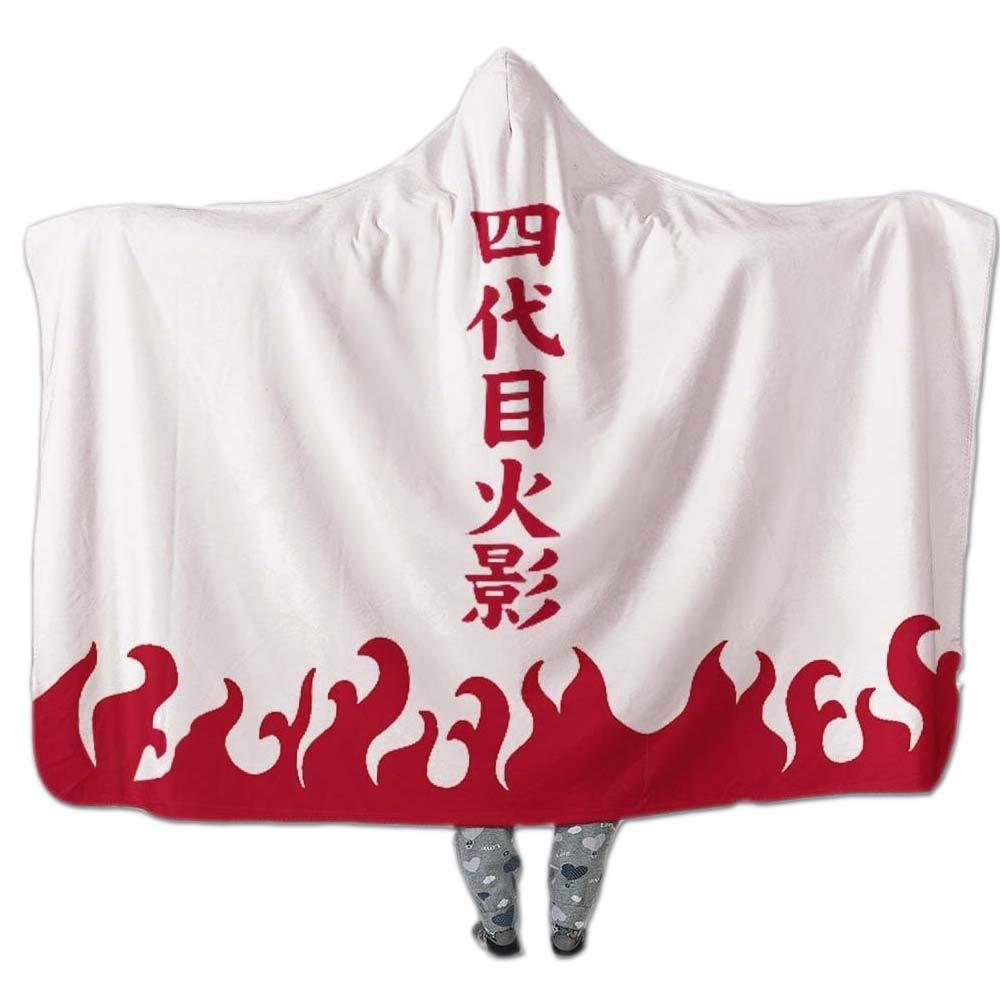 PYHQ Yondaime Hokage Sherpa Blanket Wearable Hooded Warm Robe Cape Cloak for Adults & Children Anime