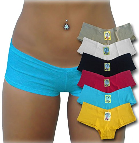 Brazilex Women's Boy Short Panties Cotton (6 Pack) Small