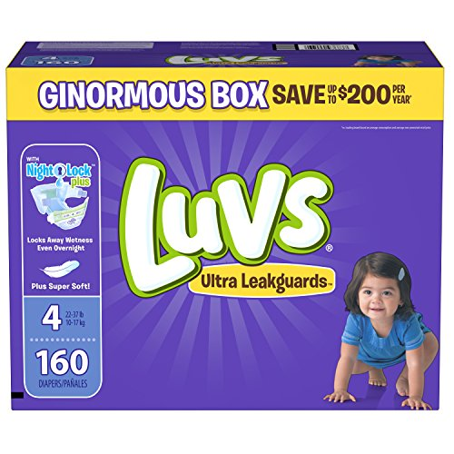 Large Product Image of Luvs Ultra Leakguards Disposable Diapers Size 4, 160 Count, ONE MONTH SUPPLY