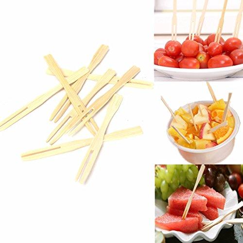 100Pcs Bamboo Fruit Cocktail Forks Wedding Banquet Party Finger Food BBQ Buffet Sticks Feast ()