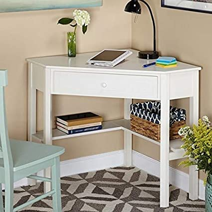 Amazon.com: Classic White Desk For Small Space, With Functional Under Desk  Shelving And A Drawer To Hide Clutter. Bedroom Living Room Wood Corner  Computer ...