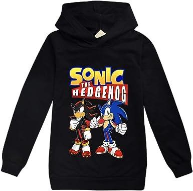Sdfsffjjekl Sonic The Hedgehog Felpa Bambini Felpa con Cappuccio Bambini Confortevole Manica Lunga del Fumetto di Stampa Felpa con Cappuccio T-Shirt Pullover Sonic The Hedgehog Pullover