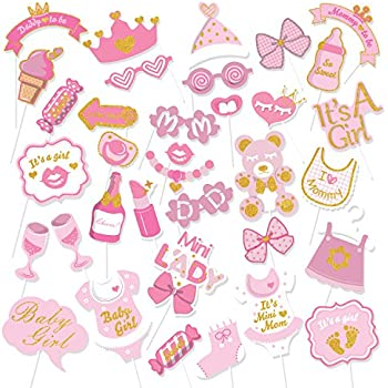 Amazon Baby Girl Baby Shower Photo Booth Props Kit 20 Count