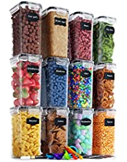 Chef's Path Airtight Food Storage Containers Set - 12 PC/ Small Size - 2L/ 67oz - Kitchen & Pantry Organization, Ideal for Flour & Sugar - BPA-Free - Plastic Canisters with Labels, Marker & Spoon Set