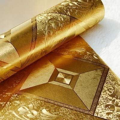 水彩シェブロンブラック&ホワイトピールとスティック ゴールドリーフパート壁紙ゴールド三次元の正方格子天井の天井のエンターテイメントクラブ廊下グリッター壁紙 (Color : A)