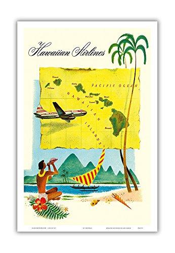 Pacifica Island Art Hawai`i Route Map - Hawaiian Airlines - Vintage Hawaiian Travel Advertisement c.1950s - Hawaiian Master Art Print - 12 x 18in
