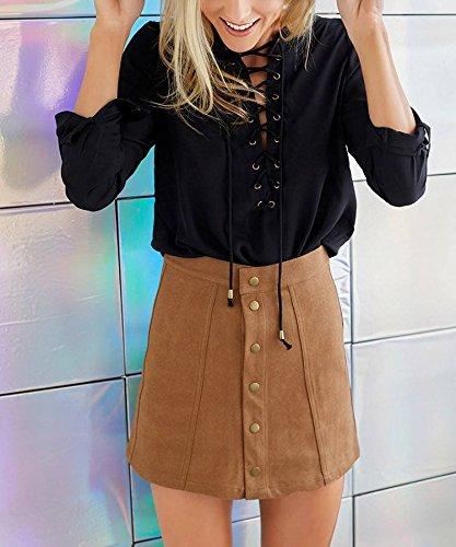 COMVIP Women's Solid Autumn Button Closure A-line Mini Short Skirts Khaki M by COMVIP (Image #4)