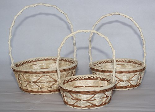 RT410546BR-3: WICKER/RATTAN FLOWER BASKETS OR EASTER BASKETS OR GIFT BASKETS IN BROWN ON CREAM DESIGNS