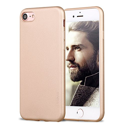 iPhone 7 Case, iPhone 8 Case, X-Level Ultra Thin Shell Soft Plastic TPU Slim Fit Mobile Phone Case Cover with Matte Finish Coating Grip for Apple iPhone 7(2016) / iPhone 8(2017) 4.7 (Gold)
