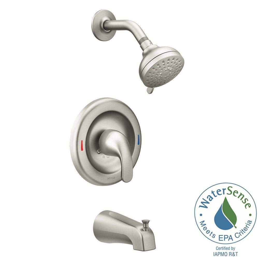 MOEN Adler 1-Handle 4-Spray Tub and Shower Faucet with Valve in Spot Resist Brushed Nickel