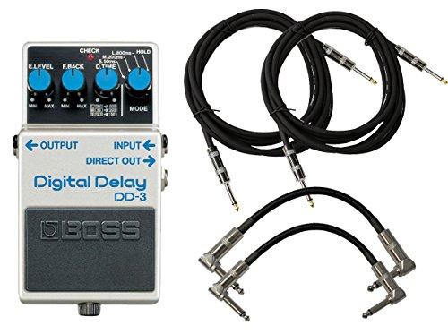 BOSS DD-3 Digital Delay Pedal Bundle w/4 Cables by BOSS