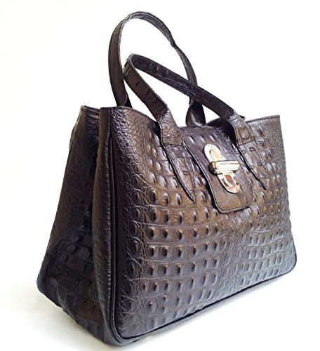 in Sac à Croco SUPERFLYBAGS véritable model Made crocodile Milena Noir Italy imprimé main en cuir 7Hdw5xBw