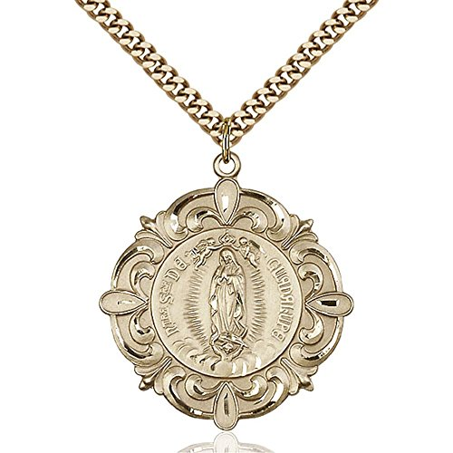 Gold Filled Our Lady of Guadalupe Pendant 1 1/4 x 1 1/8 inches with Heavy Curb Chain by Bonyak Jewelry Saint Medal Collection