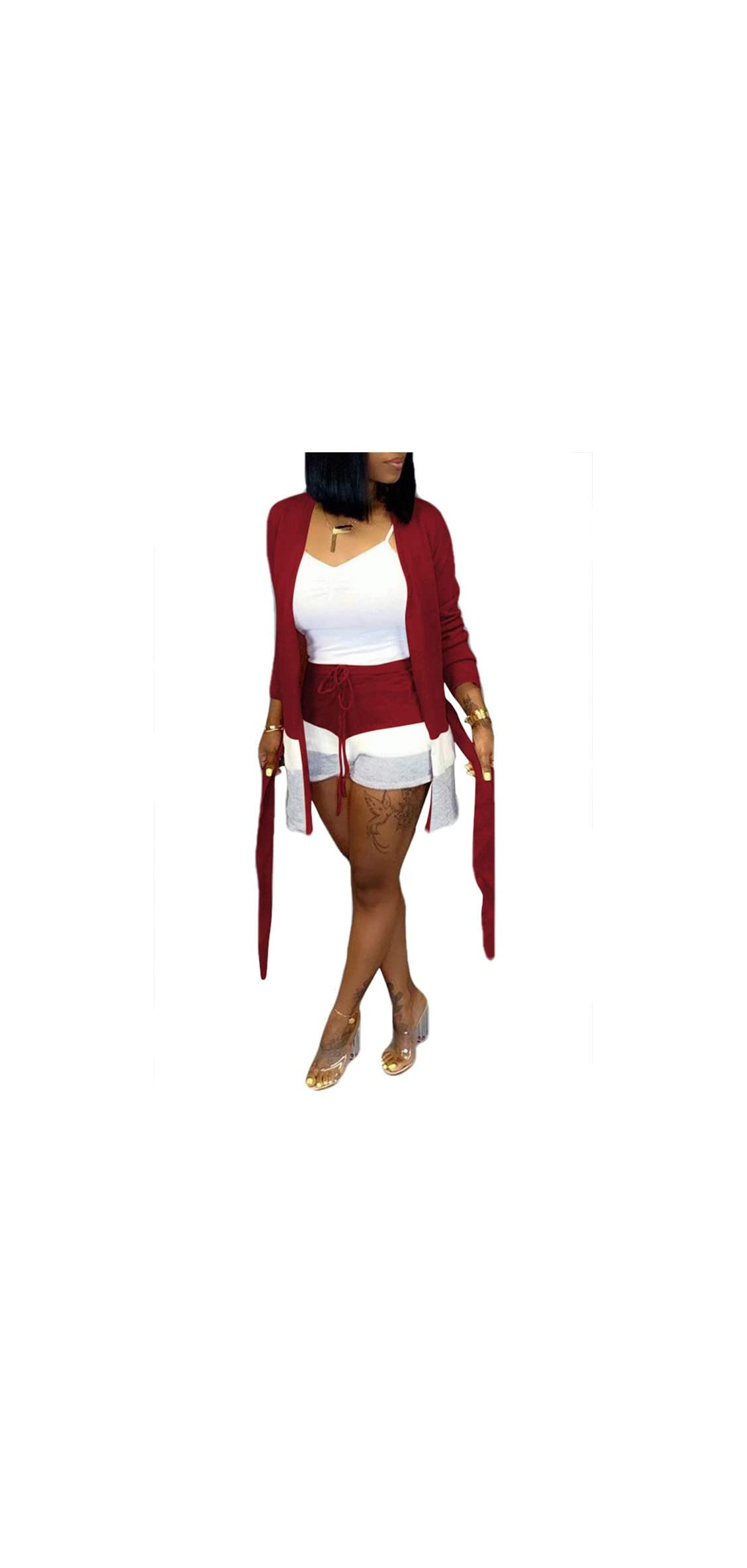 Womens Color Block Long Sleeve Draped Open Front Cardigan Casual