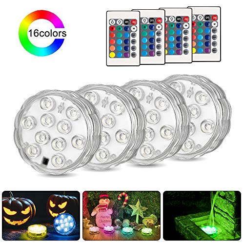 Submersible Led Lights,Furado Submersible Lights Waterproof Remote Controlled RGB Changing Waterproof Lights for Pond Pool Fountain Aquarium Vase Hot Tub Bathtub Event Party and Home Decoration 4 Pack