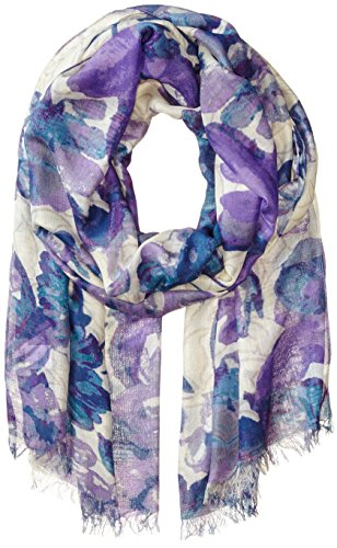 BADGLEY MISCHKA Women's Mirror Floral Print Scarf, Lilac/Blue Multi, One Size by Badgley Mischka