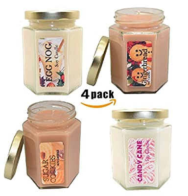 Bulk 4 pack EXTRA SCENTED Holiday Candles For Thanksgiving, Christmas, Hanukkah, Kitchen, Bath and bedroom. Great for Aromatherapy and relaxation.