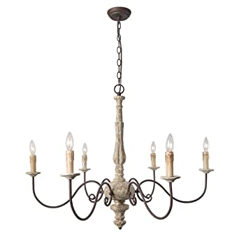 Laluz 6 light shabby chic french country chandelier lighting rustic laluz 6 light shabby chic french country chandelier lighting rustic pendant lights wooden chandeliers amazon mozeypictures Images